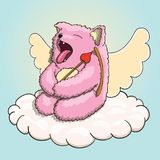 Valentines Day, Mythical Yawning Cupid Pink Cat Tired on the Cloud with Cupid Arrow and Bow. Valentines Day, Mythical Yawning Cupid Pink Cat Tired, Resting on Stock Image