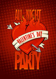 Valentines day night party pop-art design. Royalty Free Stock Photography