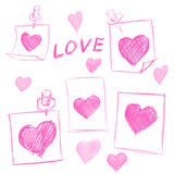 Valentines Day notes with scribbled hearts Stock Photos