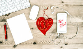Valentines Day Office Desk Red Heart Mobile Phone Royalty Free Stock Images