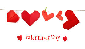 Valentines day origami hearts Stock Images