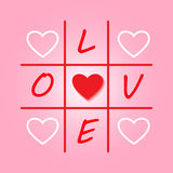 Valentines day original card with tic-tac-toe design. Vector illustration for card. Stock Photography