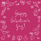 Valentines day ornate background. hand-drawn pattern. Valentines day card, ornate background. hand-drawn pattern with hearts, flowers and abstraction. Valentines Stock Photo