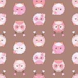 Valentines day owl seamless vector pattern royalty free illustration