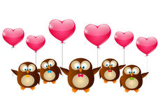 Valentines day owls Royalty Free Stock Image