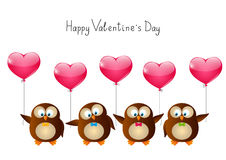 Valentines day owls Royalty Free Stock Photo