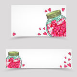 Valentines day paper banners set Stock Images