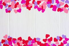 Valentines Day paper heart double border against white wood Royalty Free Stock Image