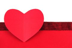 Valentines Day paper heart with red bottom border Stock Photo