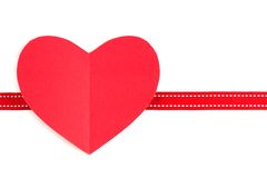 Valentines Day paper heart with red ribbon over white Royalty Free Stock Photo