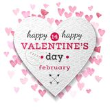 Valentines Day paper heart. With type design and small pink hearts on the background. Vector illustration Stock Images