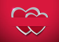 Valentines Day. Paper Hearts on Pink Background Stock Photography