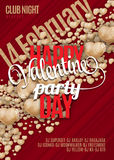 Valentines Day Party Flyer Background Design. Vector template of invitation with hearts, flyer, poster or greeting card vector illustration