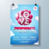 Valentines Day Party Flyer Design with Love Typography Letter and Heart Balloon on Cloud Sky Background. Vector Holiday. Celebration Poster Template for Royalty Free Stock Images