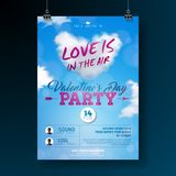 Valentines Day Party Flyer Design with Typography and Cloud Heart on Blue Background. Vector Love is in the Air. Celebration Poster Template for Invitation or Royalty Free Stock Image