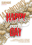 Valentines Day Party Flyer Design. Vector template of invitation, flyer, poster or greeting card Royalty Free Stock Photography