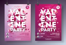 Free Valentines Day Party Flyer Illustration With Red Heart And Typography Design On Clean Background. Vector Holiday Stock Images - 108513604