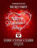 Valentines Day party flyer invitation with bokeh hearts Royalty Free Stock Photography