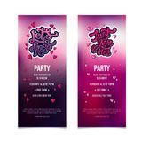 Valentines Day party flyer invitation with modern 3D hand lettering. vector illustration