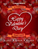 Valentines Day party flyer invitation with ribbon Stock Photography