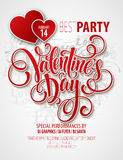 Valentines Day Party Flyer. Vector illustration Stock Photography
