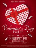 Valentines Day party flyer. White box from the heart and a red ribbon with a bow. Romantic composition on a red background. Colorf. Ul confetti. Invitation to Stock Photos