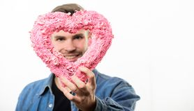 Valentines day party. Happy man with decorative heart. Date. Romantic greeting. Valentines day sales. Love and romance. Unshaved man isolated on white royalty free stock image