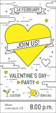 Valentines Day party invitation design. Vector template of invitation, poster or greeting card. Stock Image
