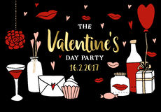 Valentines day party invitation. Doodle sketches and love symbols, vector illustration background. Stock Photos