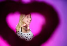 Valentines day party. Love and romance. woman with decorative heart. Date. Romantic greeting. Valentines day sales. Happy woman on pink background. Be patient stock photos