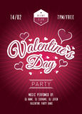 Valentines day party poster. Dark red background Royalty Free Stock Photo