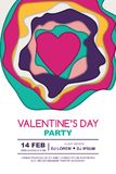 Valentines day party  poster design template. Heart and 3D abstract paper cut shapes on white background. Valentines day party  poster design template. Heart Royalty Free Stock Images