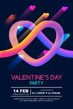 Valentines day party poster template. Abstract 3d colorful gradient liquid heart on black background. Glowing neon design for holiday banner, flyer, party stock illustration