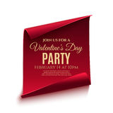 Valentines day party poster template. Red, curved, paper banner  on white background. Vector illustration Royalty Free Stock Images