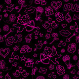 Valentines day pattern. Seamless pattern with doodles for valentines day Royalty Free Stock Images