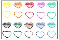 Valentines day pattern with colorful hearts on white background Stock Photo