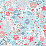Valentines-day pattern with hearts and flowers. Seamless Valentines-day pattern with birds, flowers and hearts Stock Photography