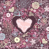 Valentines-day pattern with hearts and flowers. Seamless Valentines-day pattern with  birds, flowers and big pink heart Royalty Free Stock Images
