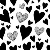 Valentines Day pattern with red hearts royalty free illustration