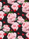 Valentines day pattern Roses and hearts Vector realistic illustration black backgrounds Stock Image