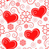 Valentines day pattern seamless with hearts and flowers Stock Photos