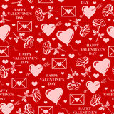 Valentines day pattern seamless on red background Stock Photos