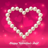 Valentines day pearls vector heart Stock Photography