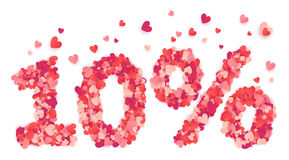 Valentines Day 10 percents discount mape from hearts confetti isolated on white background Stock Photos