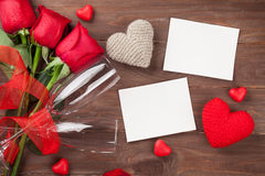 Valentines day photo frames, champagne and red roses Royalty Free Stock Image