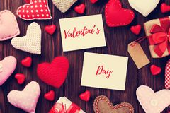 Valentines day photo frames and hearts stock photography