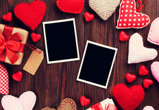 Valentines day photo frames and hearts Royalty Free Stock Photo