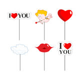 Valentines day photo props . Paper elements of love for photo sh. Oot. February 14 lovers day. I love you. Lips and cloud. Cupid and kiss. Big red heart Royalty Free Stock Image