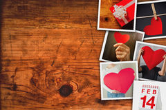 Valentines day picture collage. Stack of retro toned polaroid photos on wooden board as copy space background royalty free stock photos