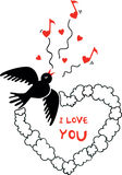 Valentines Day picture with flying bird Stock Photos